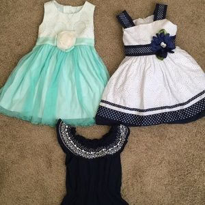 Navy , white and turquoise dresses